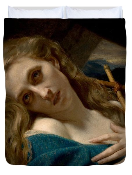 Mary Magdalene In The Cave Duvet Cover by Hugues Merle