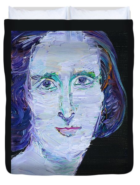 Duvet Cover featuring the painting Mary Shelley - Oil Portrait by Fabrizio Cassetta