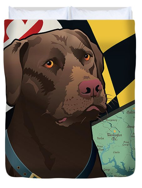 Maryland Chocolate Lab Duvet Cover