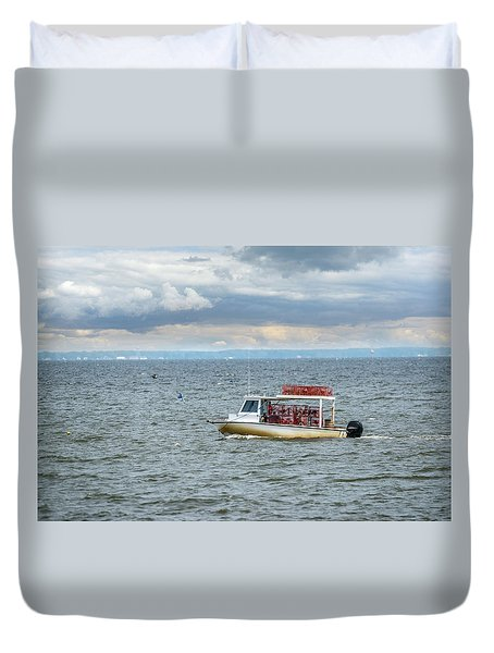 Maryland Crab Boat Fishing On The Chesapeake Bay Duvet Cover