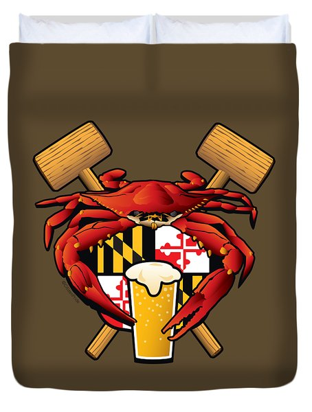 Maryland Crab Feast Crest Duvet Cover