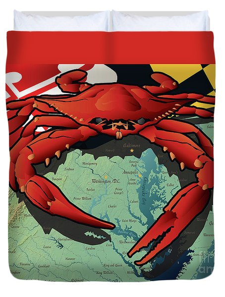 Maryland Red Crab Duvet Cover