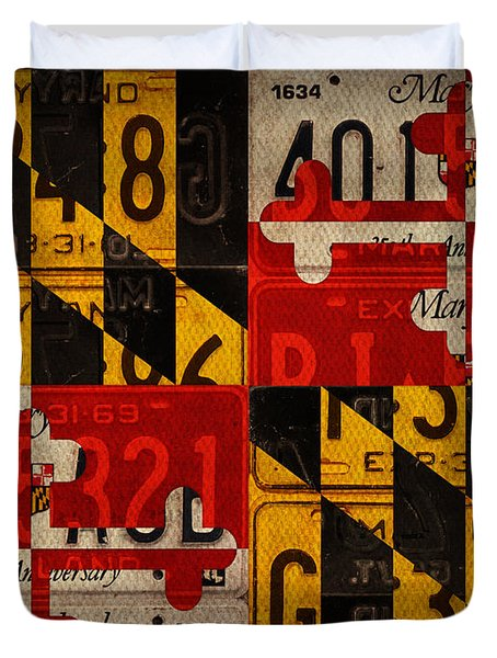 Maryland State Flag Recycled Vintage License Plate Art Duvet Cover by Design Turnpike