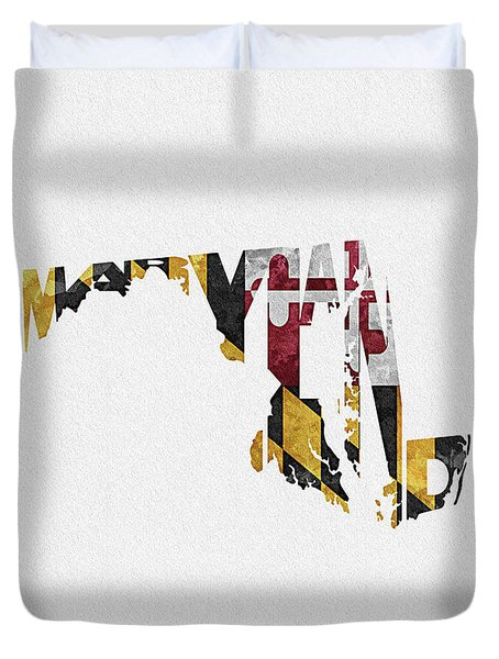 Maryland Typographic Map Flag Duvet Cover