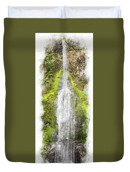 Marymere Falls Wc Duvet Cover by Peter J Sucy