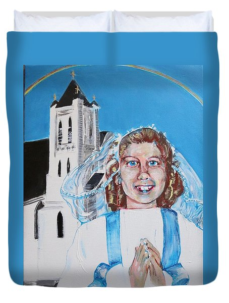 Mary's First Communion Duvet Cover