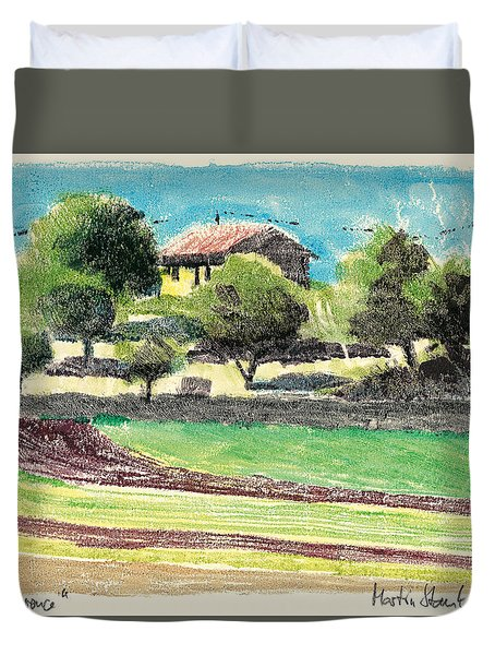 Duvet Cover featuring the painting mas en Provence landscape by Martin Stankewitz