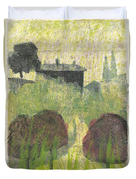 Duvet Cover featuring the painting Mas En Provence by Martin Stankewitz