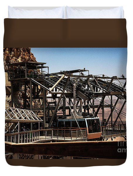 Duvet Cover featuring the photograph Masada Lift by Mae Wertz