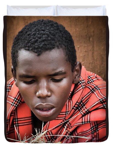 Duvet Cover featuring the photograph Masai Firemaker by Karen Lewis