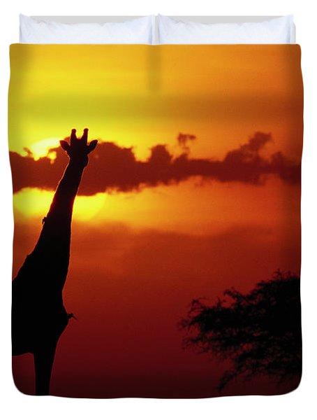 Masai Giraffe Giraffa Camelopardalis Duvet Cover by Gerry Ellis