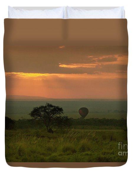 Duvet Cover featuring the photograph Masai Mara Balloon Sunrise by Karen Lewis