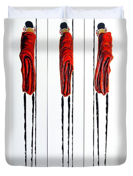 Masai Warrior Triptych - Original Artwork Duvet Cover