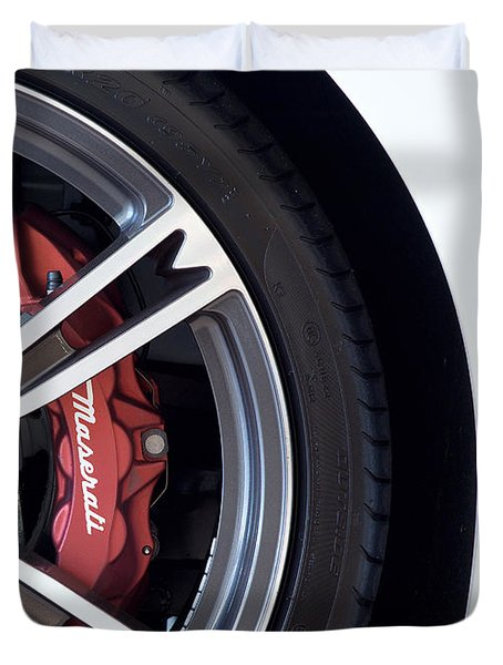 Maserati Wheel White Duvet Cover