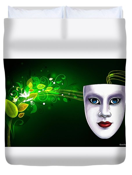 Mask Blue Eyes On Green Vines Duvet Cover