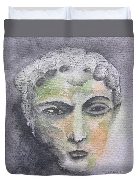 Duvet Cover featuring the painting Mask II by Teresa Beyer