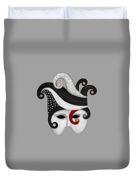 Mask In Black And White With Red Duvet Cover