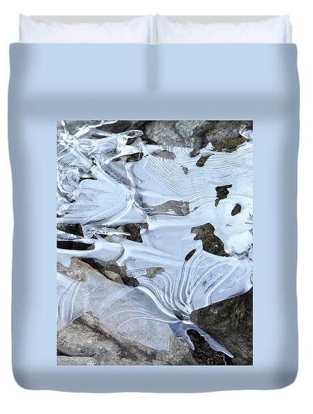Duvet Cover featuring the photograph Ice Mask Abstract by Glenn Gordon