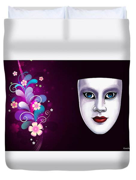 Mask With Blue Eyes Floral Design Duvet Cover