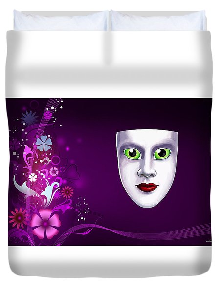 Duvet Cover featuring the photograph Mask With Green Eyes On Pink Floral Background by Gary Crockett