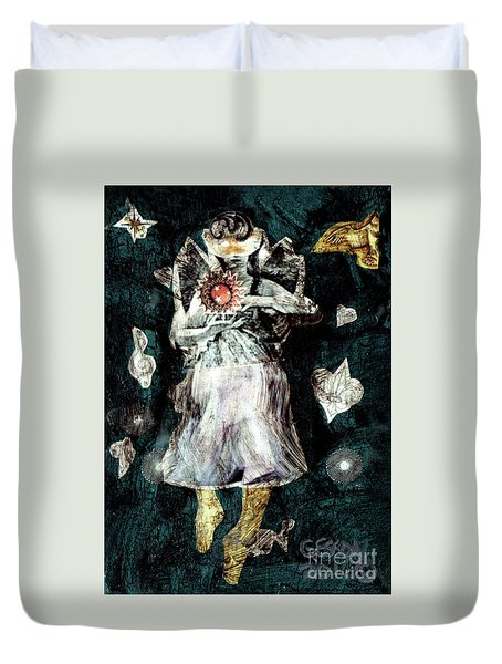 Duvet Cover featuring the painting Masked Angel Holding The Sun by Genevieve Esson