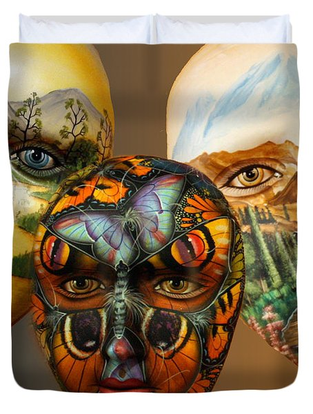 Masks On The Wall Duvet Cover