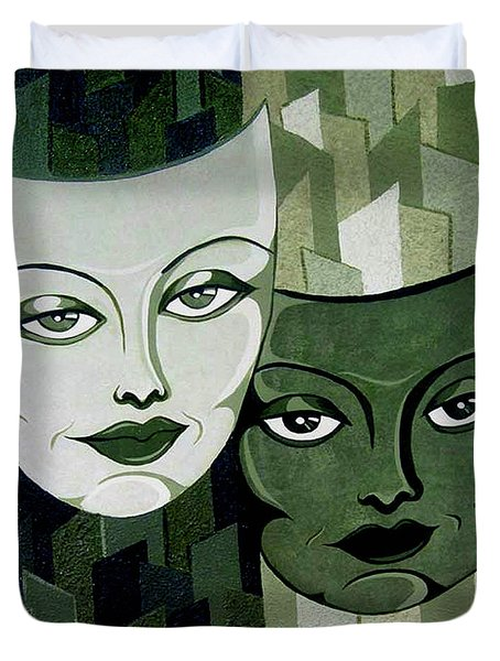 Masks Verde Duvet Cover