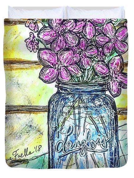 Mason Jar Bouquet Duvet Cover