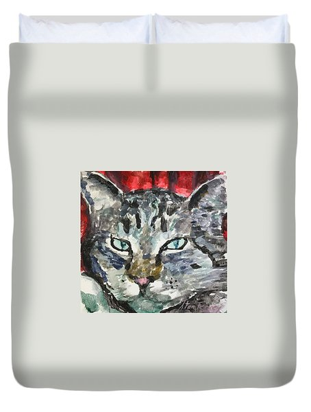 Duvet Cover featuring the painting Mason by Stan Tenney