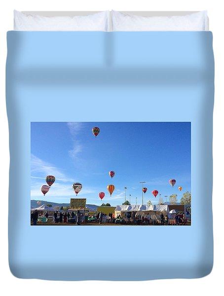 Mass Ascension Taos Balloon Festival Duvet Cover by Brenda Pressnall