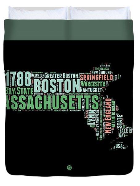 Massachusetts Word Cloud Map 1 Duvet Cover