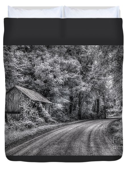 Duvet Cover featuring the digital art Massas Creek Shed by William Fields