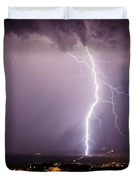 Massive Lightning Storm Duvet Cover