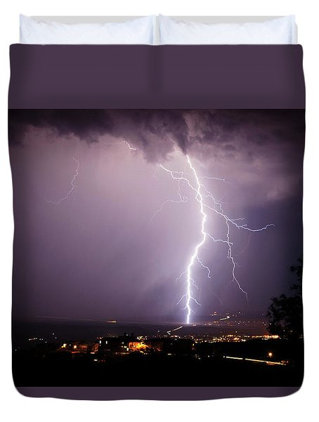 Duvet Cover featuring the photograph Massive Lightning Storm by Ron Chilston