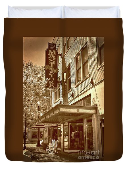 Duvet Cover featuring the photograph Mast General Store by Skip Willits