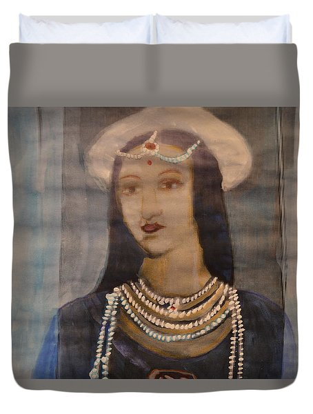 Duvet Cover featuring the painting Mastani by Vikram Singh