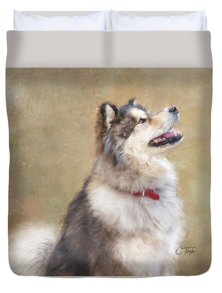 Duvet Cover featuring the painting Master Of The Domain II by Colleen Taylor
