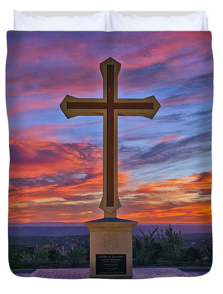 Christian Cross And Amazing Sunset Duvet Cover