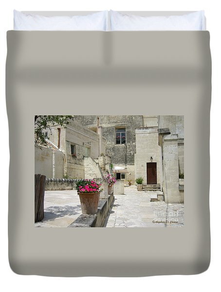 Matera With Flowers Duvet Cover by Italian Art