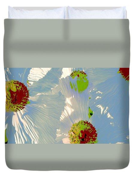 Duvet Cover featuring the photograph Matilija Poppies Pop Art by Ben and Raisa Gertsberg