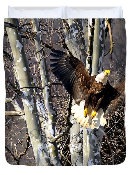 Duvet Cover featuring the photograph Mating Pair At Nest by Randall Branham