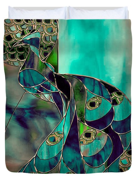 Mating Season Stained Glass Peacock Duvet Cover