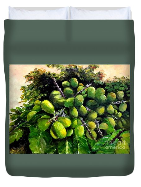 Duvet Cover featuring the painting Matoa Fruit by Jason Sentuf