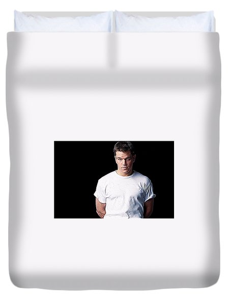 Matt Damon Duvet Cover by Iguanna Espinosa