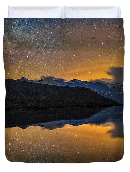 Matterhorn Milky Way Reflection Duvet Cover