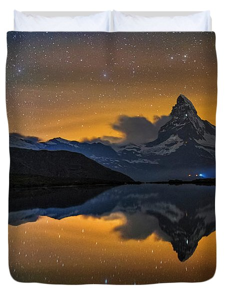 Matterhorn Milky Way Reflection Duvet Cover