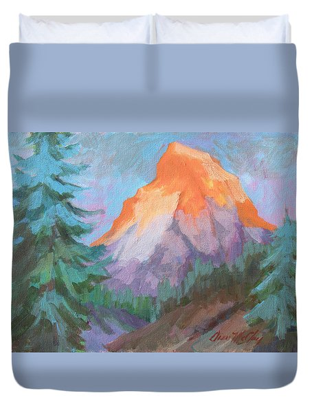 Duvet Cover featuring the painting Matterhorn Sunrise by Diane McClary