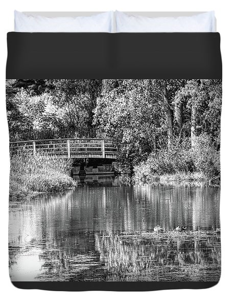Matthaei Botanical Gardens Black And White Duvet Cover by Pat Cook