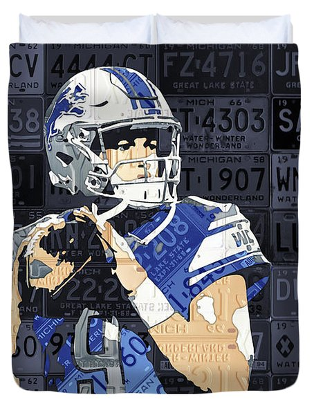 Matthew Stafford Detroit Lions Quarterback Recycled Michigan License Plates Art Portrait Duvet Cover