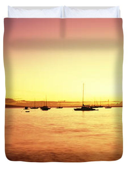 Maui Boat Harbor Silhouette Duvet Cover by Carl Shaneff - Printscapes